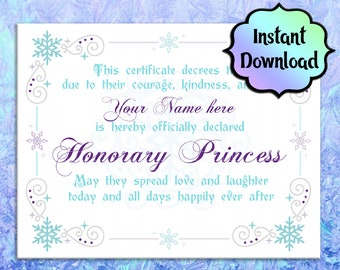 FROZEN/Elsa Certificate - EDITABLE - Instant Download - Printable Princess Certificate - For Coronation Ceremony, Birthday Gift, Party Favor