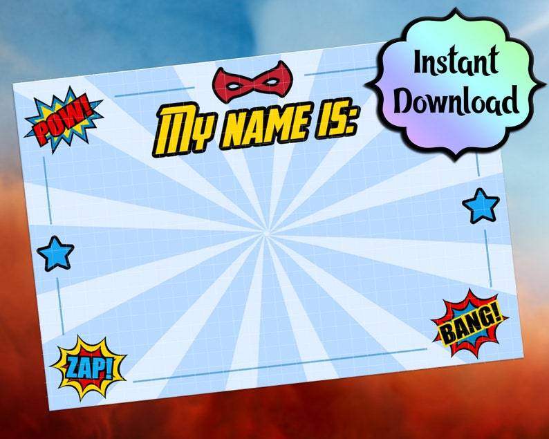 picture relating to Printable Cardstock Tags called SUPERHERO Status Tags and Labels - Printable for Adhesive Labels or Cardstock - Superhero, Avengers Birthday Celebration Products