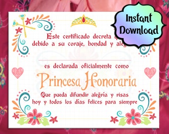 ELENA of Avalor **SPANISH Version** Inspired Princess Certificate (English) - Printable - INSTANT Download - Birthday Party, Party Favor