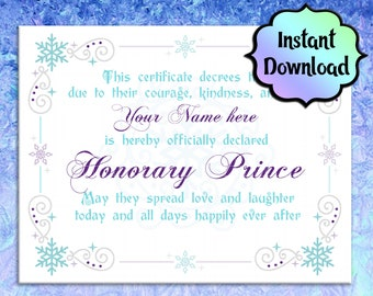 FROZEN/Elsa Certificate - PRINCE Printable Certificate - EDITABLE - Instant Download -  For Coronation Ceremony, Birthday Gift, Party Favor