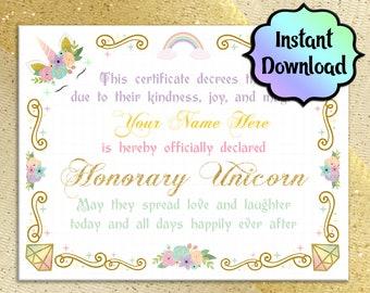 UNICORN Certificate - Printable - INSTANT DOWNLOAD - Unicorn birthday party, coronation ceremony, honorary unicorn, unicorn party favors