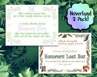 2 Pack! LOST BOY and FAIRY Certificates! Printable -  Instant Download  Tinker Bell, Peter Pan, Neverland