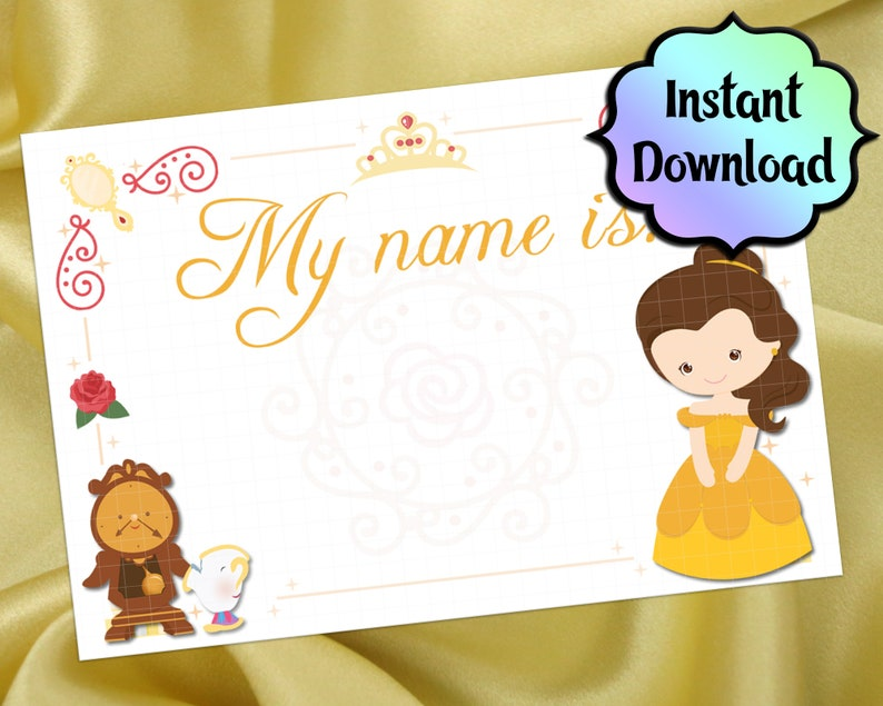 graphic regarding Printable Cardstock Tags referred to as BELLE Track record Tags and Labels - Printable for Adhesive Labels or Cardstock - Attractiveness and the Beast Princess Birthday Get together Resources