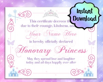 Generic PRINCESS Certificate - EDITABLE, Printable - INSTANT Download - Coronation Ceremony, Birthday Gift, Party Favors, Princess Party
