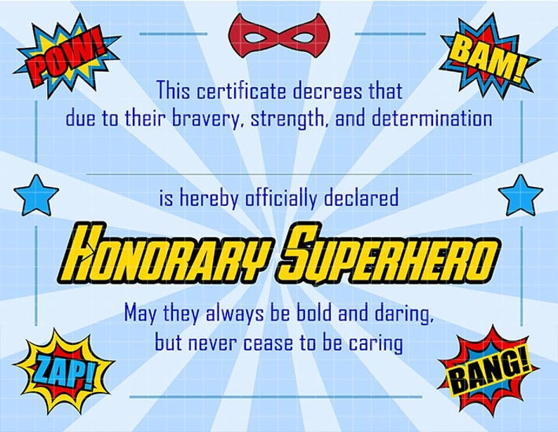 Instant Download Superhero Certificate For Birthday Gifts Etsy