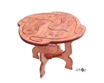 Rose Wooden Coffee Table – Round Center Coffee Table – Original Design by CristherArt – Living Room Handcrafted Solid Wood Tea Table