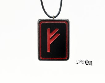 Fehu Rune of Wealth Talisman Necklace - Fehu Norse Rune Pendant - Viking Magic - Attracts Money - Norse Wealth and Prosperity Mystic Symbol