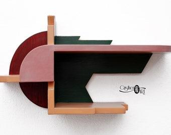 Solid Wood Bedside Shelf – Suspended Nightstand – Painted Furniture – Bedroom Décor – Artistic Furniture – Original Design by CristherArt