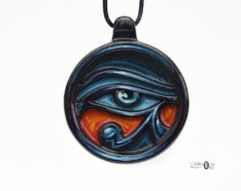 Egyptian Jewelry - Eye of Horus Egyptian Necklace – Wadjet - Eye of Ra Protection Amulet Necklace – Ancient Egypt Talisman Hand Carved Wood