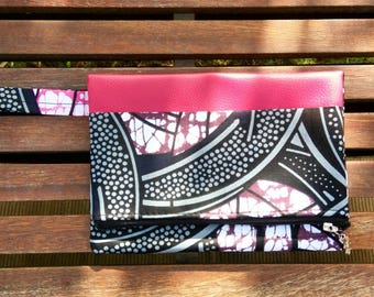 "Evening clutch colorful ""Granada"". Faux leather and wax. Fashion Pink"