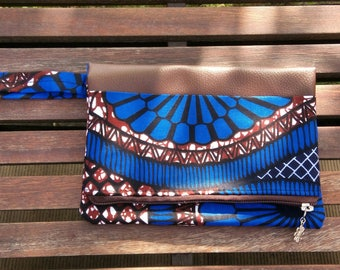 "Evening clutch colorful ""Granada"". Faux leather and wax. Blue chocolate"
