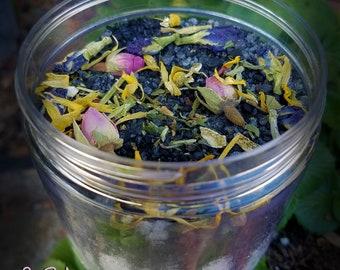 PERSEPHONE, Bath Tea Soak, 16 oz jar, Dead Sea Salt, Epsom Salt, Black Charcoal, Herbal Blend, Herbal Bath, Witches Bath, Underworld, Floral