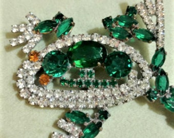 d59c822cd Vintage Green Frog Pin, Frog Statement Brooch, Green Rhinestone Frog Brooch,  Green Rhinestone Frog Pin, Vintage Estate Jewelry