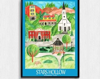 Stars Hollow Poster Gilmore Girls 11x17 8x11 digital print