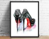 Shoes Digital Print inspired by Christian Louboutin rhinestone pumps Watercolor Decor Girly wall art Modern Fashion printable Illustration.