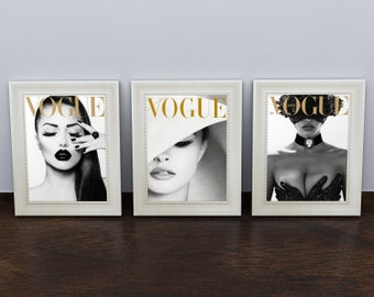 5b0ce973a666 Vogue Posters Fashion Wall Art Prints inspired by Vogue Magazine Cover Print.  Modern Wall Decor. Set of 3 prints