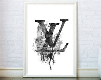 1e4b1961988a Fashion wall art inspired by Louis Vuitton Print Logo Sign Poster black and  white Watercolor Print Modern Poster fashionista Gift Wall Decor