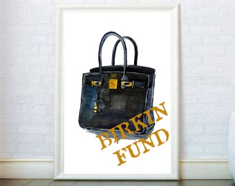e07faccaf8 Bag illustration inspired by Hermes Birkin Handbag Poster Fashion Prints  Watercolor Art Wall Decor Girly Gifts Fund Large canvas print.