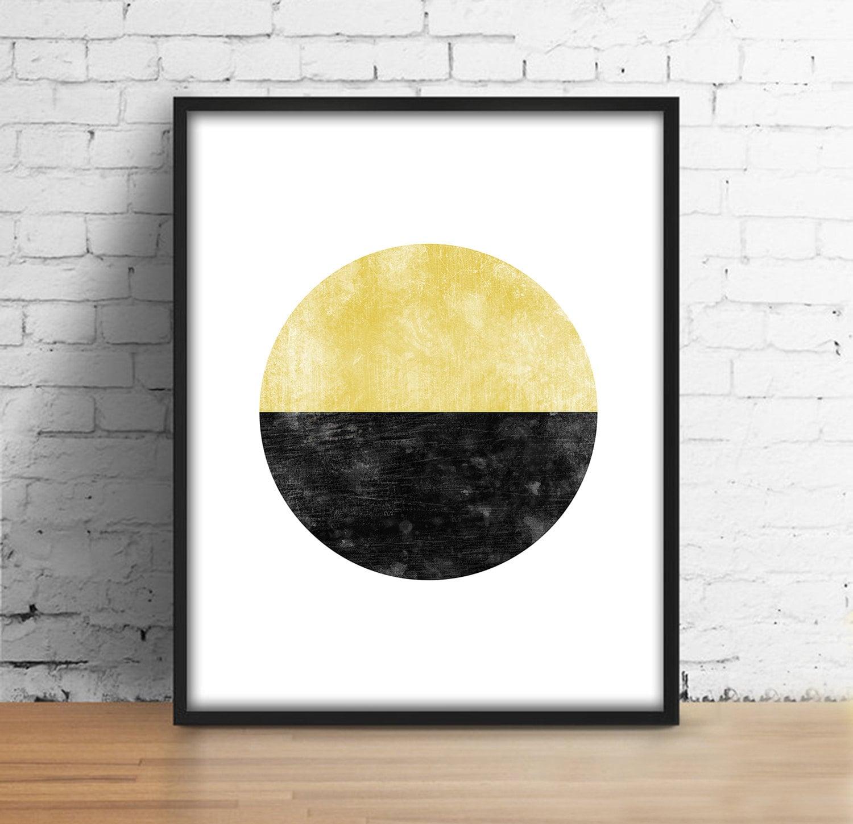 Circle watercolor print Scandinavian Wall Art Black Gold | Etsy