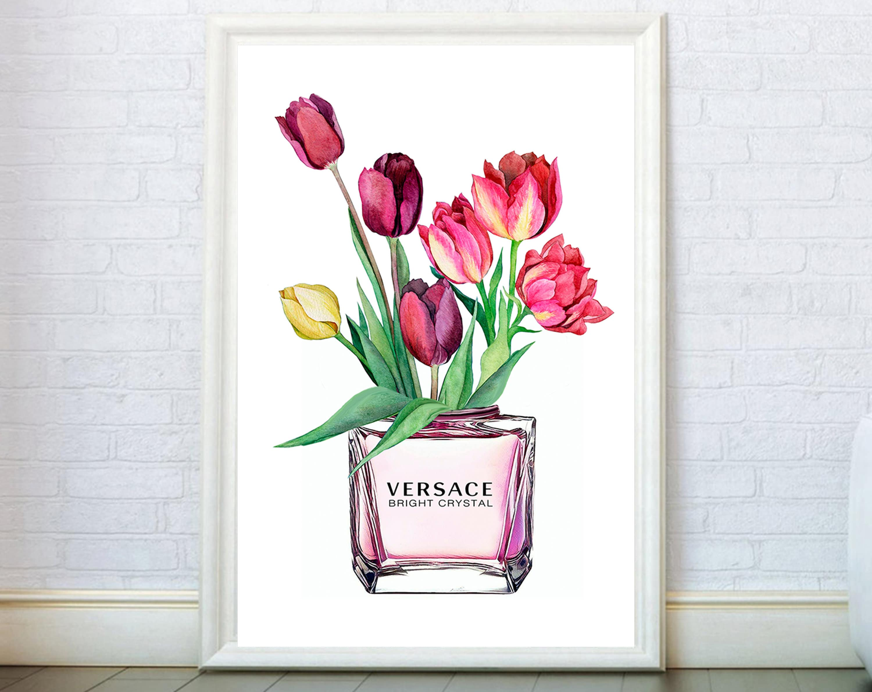 ba3fa25886f35 Perfume Bottle Print inspired by Gianni Versace Poster. Flowers  Illustration Fashion Wall Art Home Decor Modern Prints Girly Gifts.