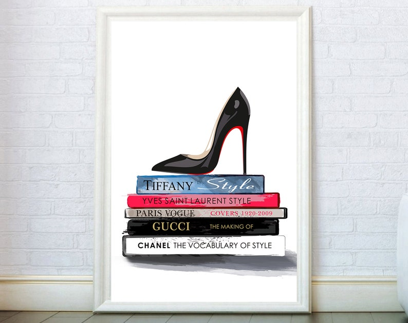 8fbd43ecde55a Shoe Art Print Fashion Poster. Fashion Books Illustration. Modern Wall Art.  Fashion Prints. Girly Wall Decor Fashion Wall Art Bedroom Decor.