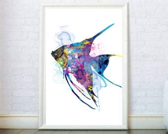 Fish Watercolor Print Scalar Fish Poster. Fish Wall Art. Watercolor Fish Art Aquarist Gift Fish Illustration Home Decor Fish Painting Poster