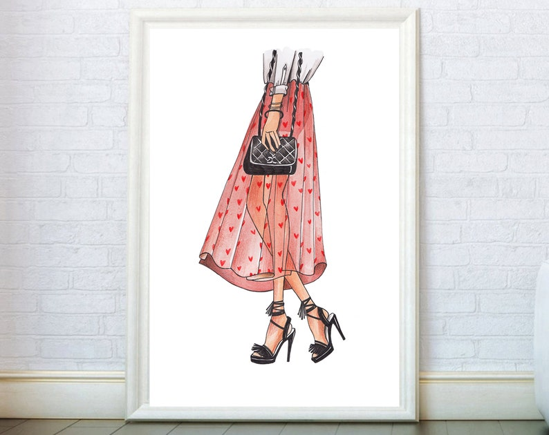 f7812688f23de Fashion Sketch Shoes and Bag Illustration Poster. Modern Wall Art Print.  Girly Decor