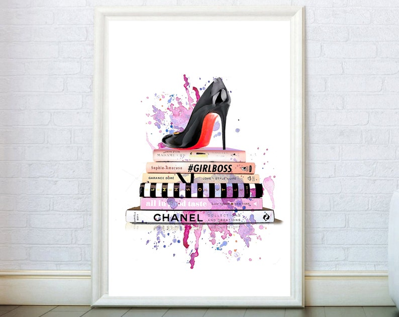 02a8531c98a00 Fashion Illustration Girly Wall Art. Shoe On Books Poster. Fashion Books  Watercolor Art. French Fashion Decor. Fashion Painting Girly Poster