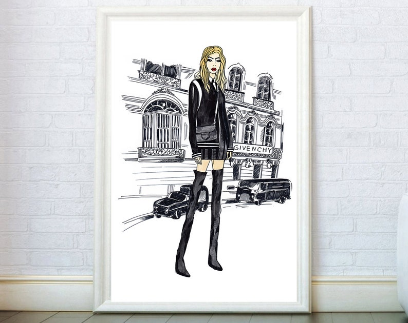2ed77a30241c5 Fashion Wall Art inspired by Givenchy Poster. Girly Gifts Wall Decor Print.  Modern Poster Fashion Prints Illustration Painting Sketch Canvas