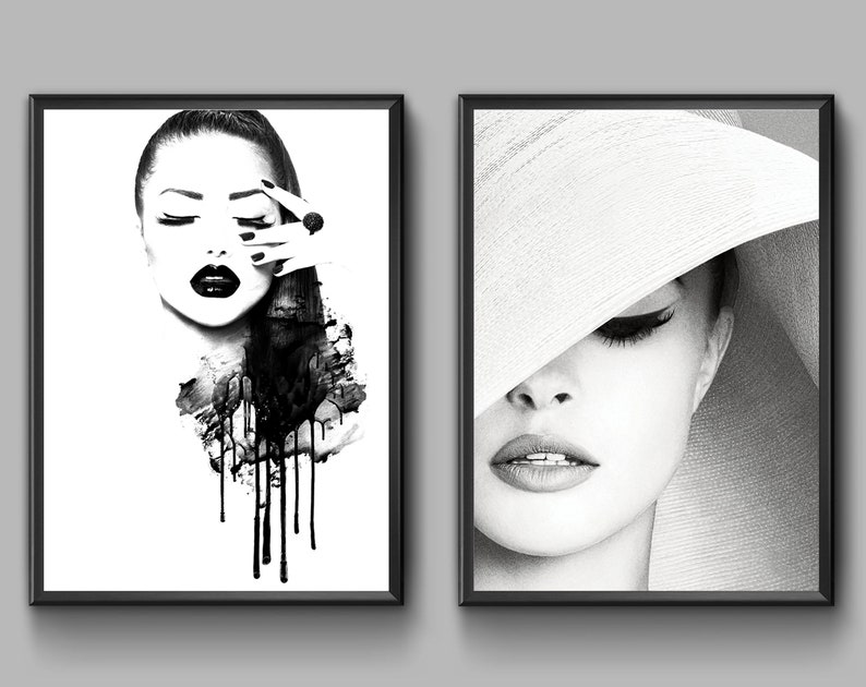 d683a222483d2 Fashion Wall Art. Black and White Poster. Glamour Decor. Set of 2 Fashion  Prints.