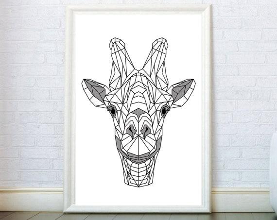 Giraffe Head Print Origami Poster Geometric