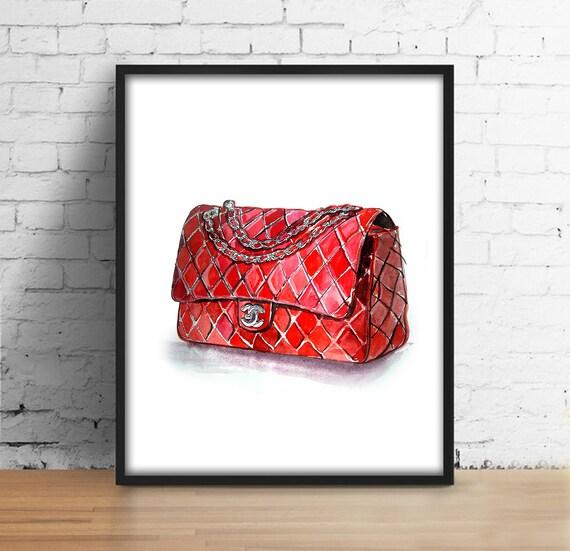 coco chanel tasche print chanel red bag digital print. Black Bedroom Furniture Sets. Home Design Ideas