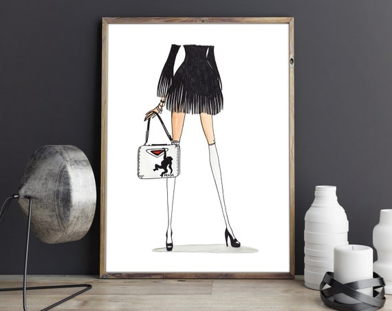 4b787f473d011 Fashion Illustration inspired by Prada Print. Girl bag Sketch Poster  Fashion Wall Art Modern Drawing Girly Wall Art Home Decor Gifts.