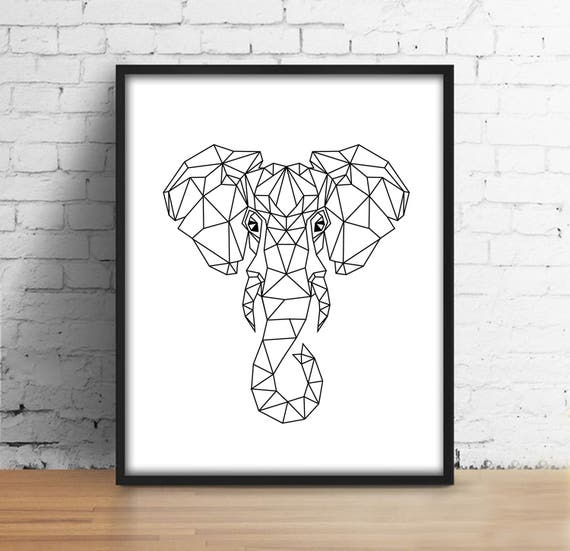 Origami cabeza Modelo Impresión Digital elefante cabeza | Etsy