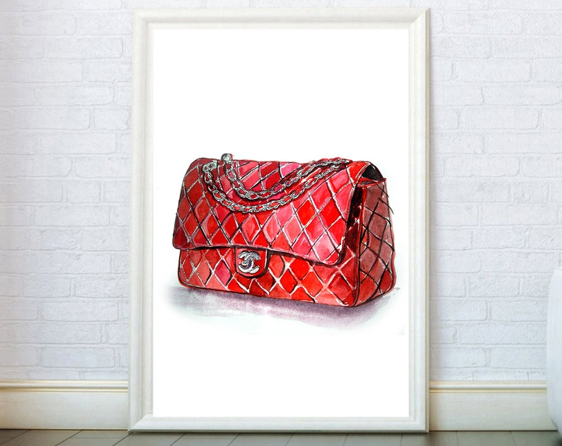 22245974ef2e5 Fashion Wall Art Red Bag Print inspired by Chanel Illustration Poster.  Fashion Wall Art Girly Gifts Wall Decor Canvas print.