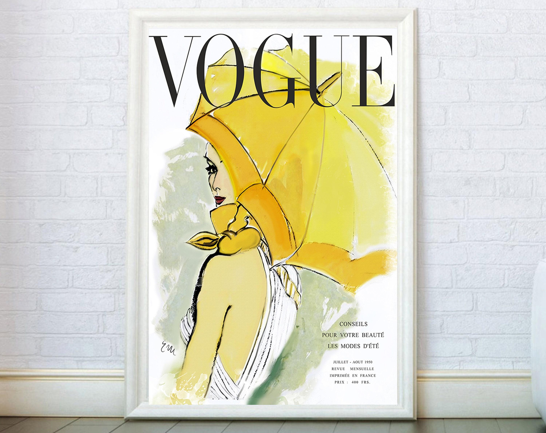 Vogue Cover Print Fashion Wall Art. Vogue Poster Fashion Print   Etsy