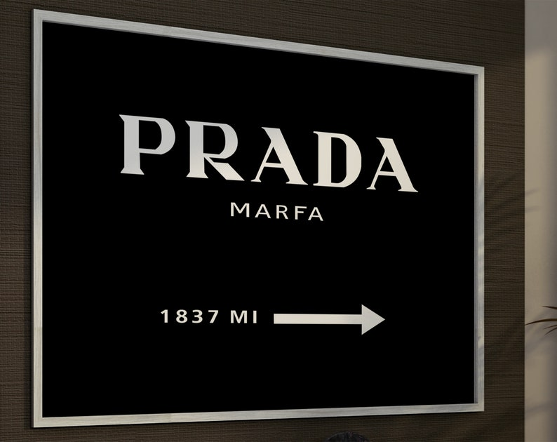 36598091f5116 Texas Fashion Wall Art inspired by Prada Marfa Poster. Sign Mileage Affiche  Store Gossip Girl Gifts Canvas Print Modern Wall Decor.
