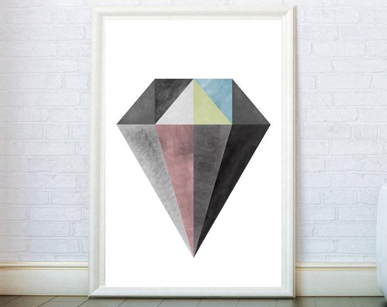 Diamond Crystal Abstract Print Modern Wall Art Diamond Painting Poster Scandinavian Minimalist Geometric Triangles Art Modern Wall Decor