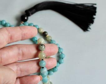 Amazonite Mala Beads, Necklace, 108 meditation beads, Jade Knotted Gemstone Mala Necklace 108 Meditation Beads Yoga Jewelry Mindful Gift