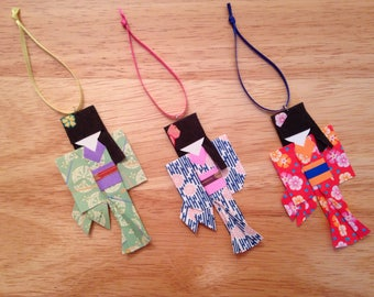 Japanese Origami Paper Doll Ornaments - set of three