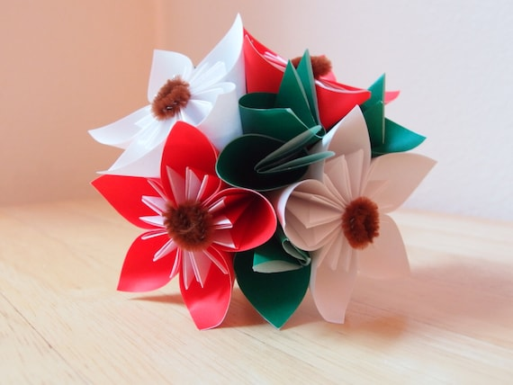 Small Handmade Origami Flower Christmas Bouquet Etsy
