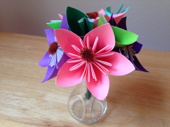 Small Handmade Japanese Origami Flower Bouquet Etsy