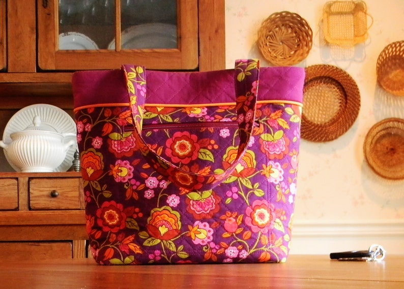 Large Merlot and Orange Stylized Jacobean Fabric Tote or Small Carry-on Bag Large Purse