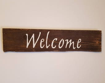 Rustic WELCOME hand painted sign