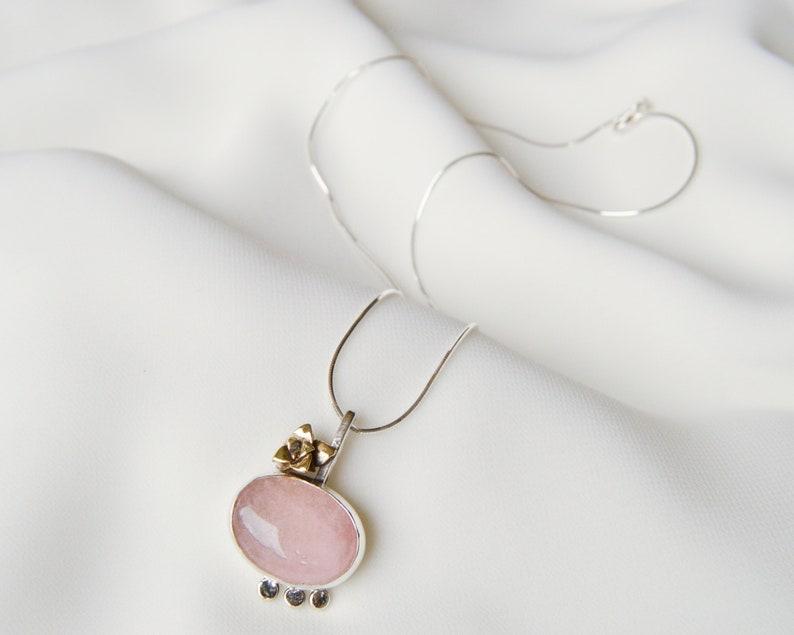 Pink stone pendant Minimalist  botanical necklace Modern rose quartz pendant Floral Silver jewelry Artisan mixed metal succulent,