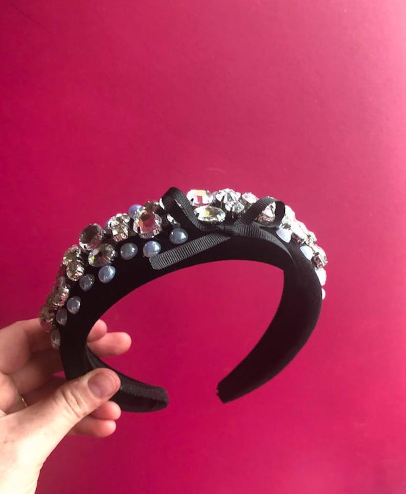 Baby fancy flower kylie headbands with clear jewel detail