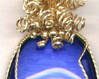Gold Filled Large Blue Cat's Eye Pendant