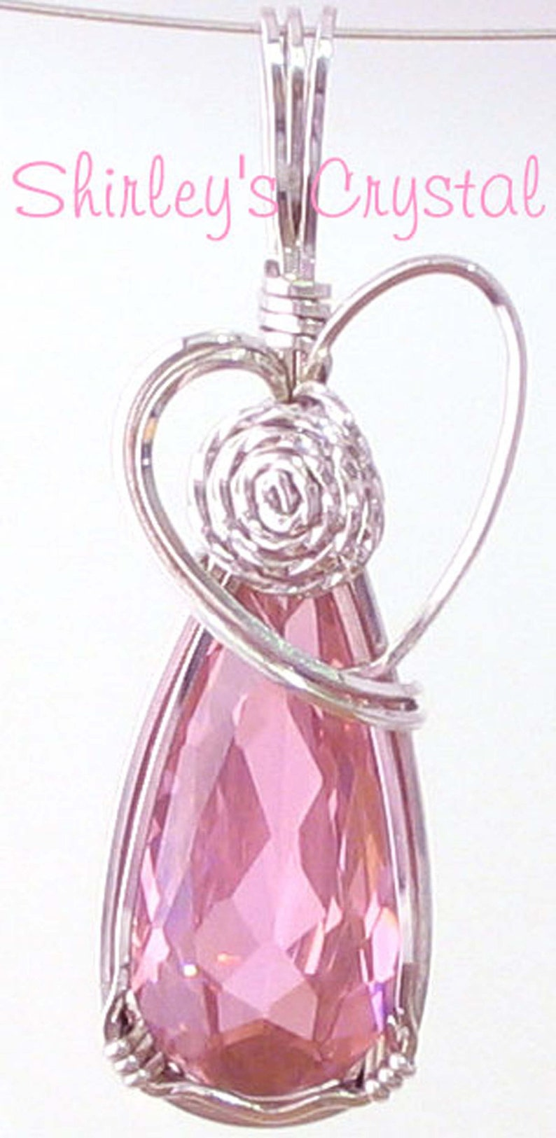 ROSE HEART SS Wire Wrapped Cubic Zirconium Pendant image 0