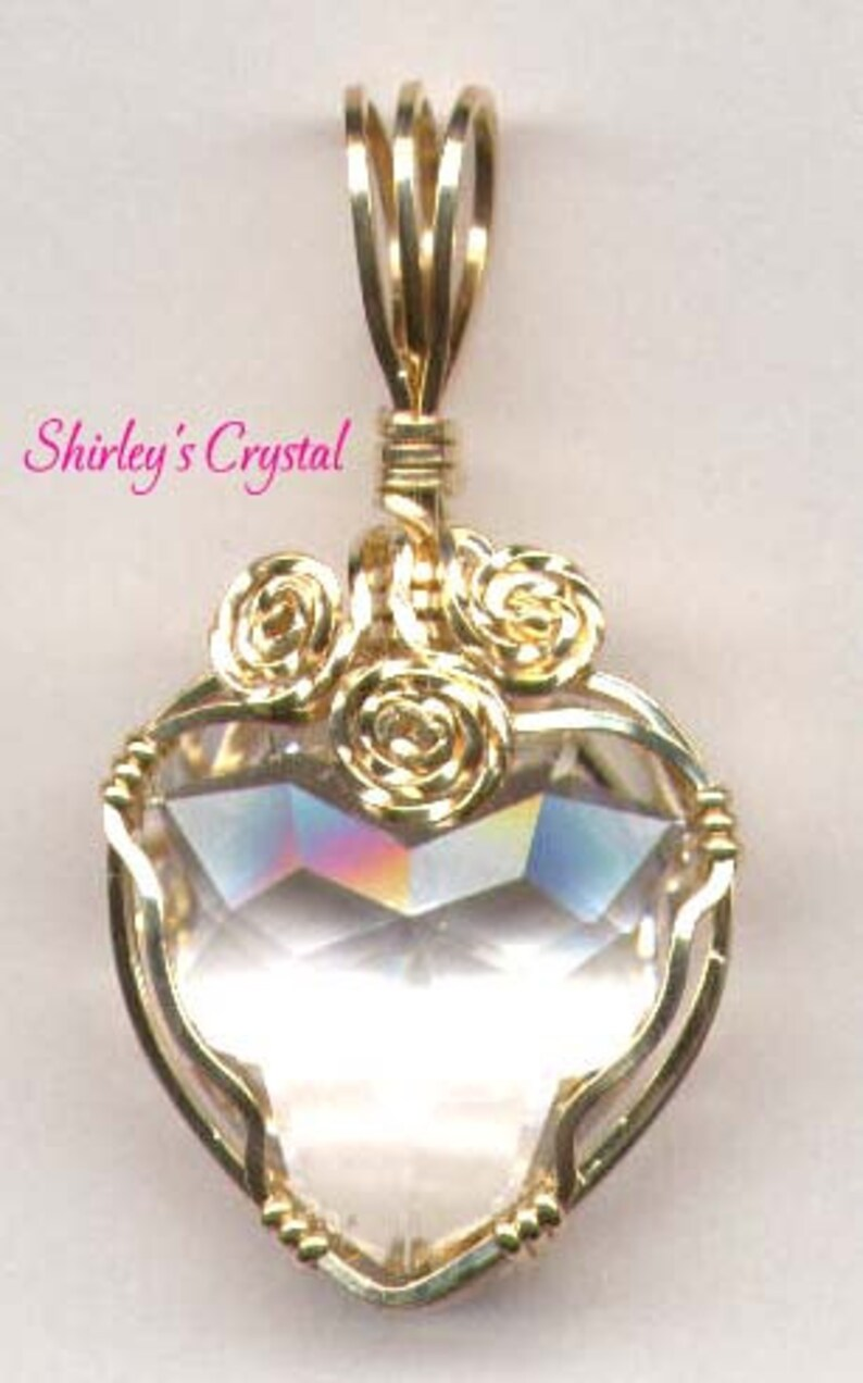 Swarovski Crystal 18mm Gold Filled Wire Wrap Clear Crystal image 0