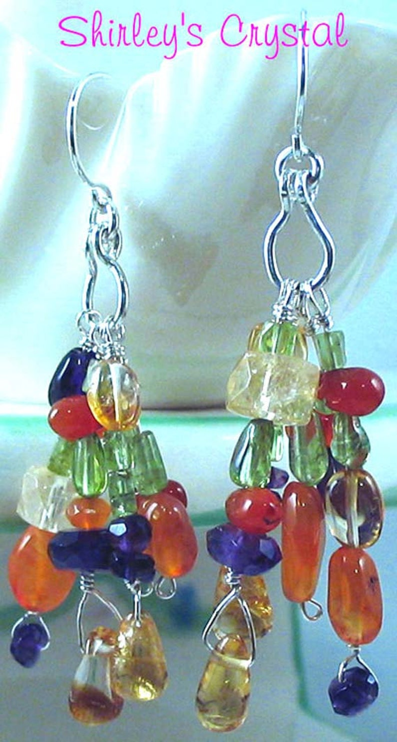 GEMSTONE Wire Wrapped CLUSTER EARRINGS w/Sterling Silver image 0